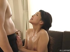 Slutty Japanese wife gets her pussy pleasured and fucked hard