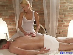 Sexy blonde masseur Uma knows how to pleasure his stiff gumshoe