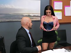 Bald dude shows this nice ass secretary the real passion