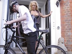 Cyclist piles with handsome older woman Rebecca Jane Smyth